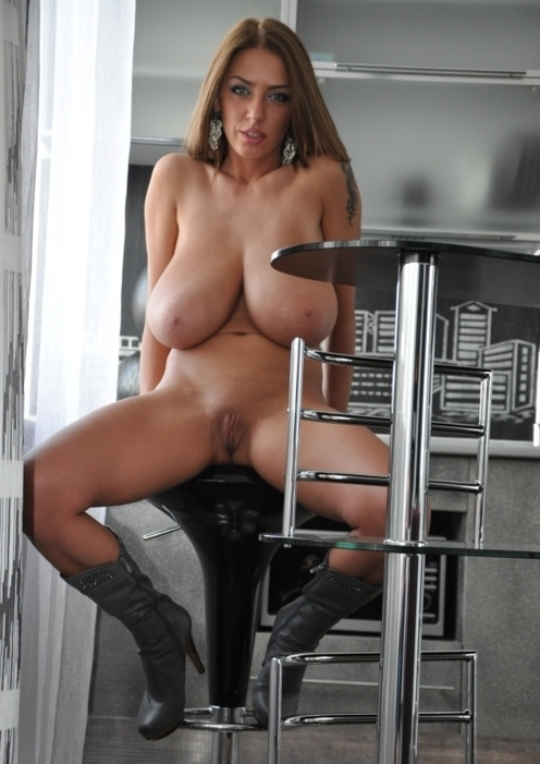 The perfect bimbo has huge tits, legs spread and is always ...