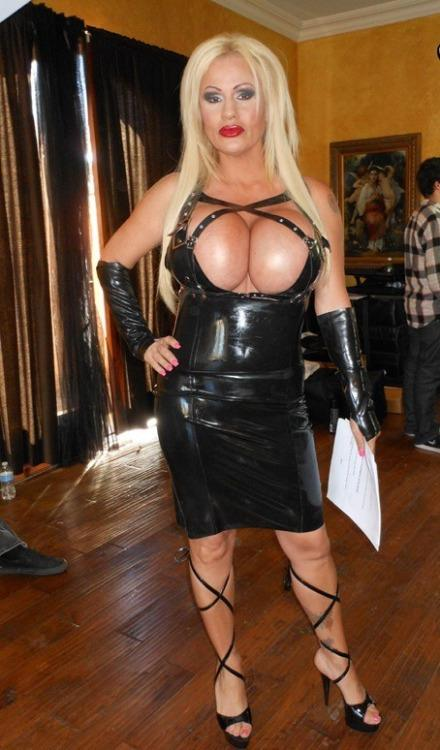 Huge Fake Tits Milf Monster Cleavage In Tight Latex Dress -7668