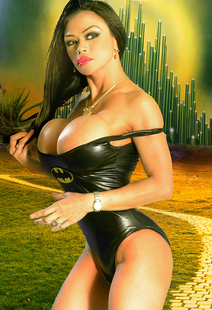 Busty Asian Girl In Sexy Batman Halloween Costume  Busty -3605